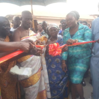 Francisca Oteng Cuts Sod for the Construction of a 40-Bed Maternity Ward